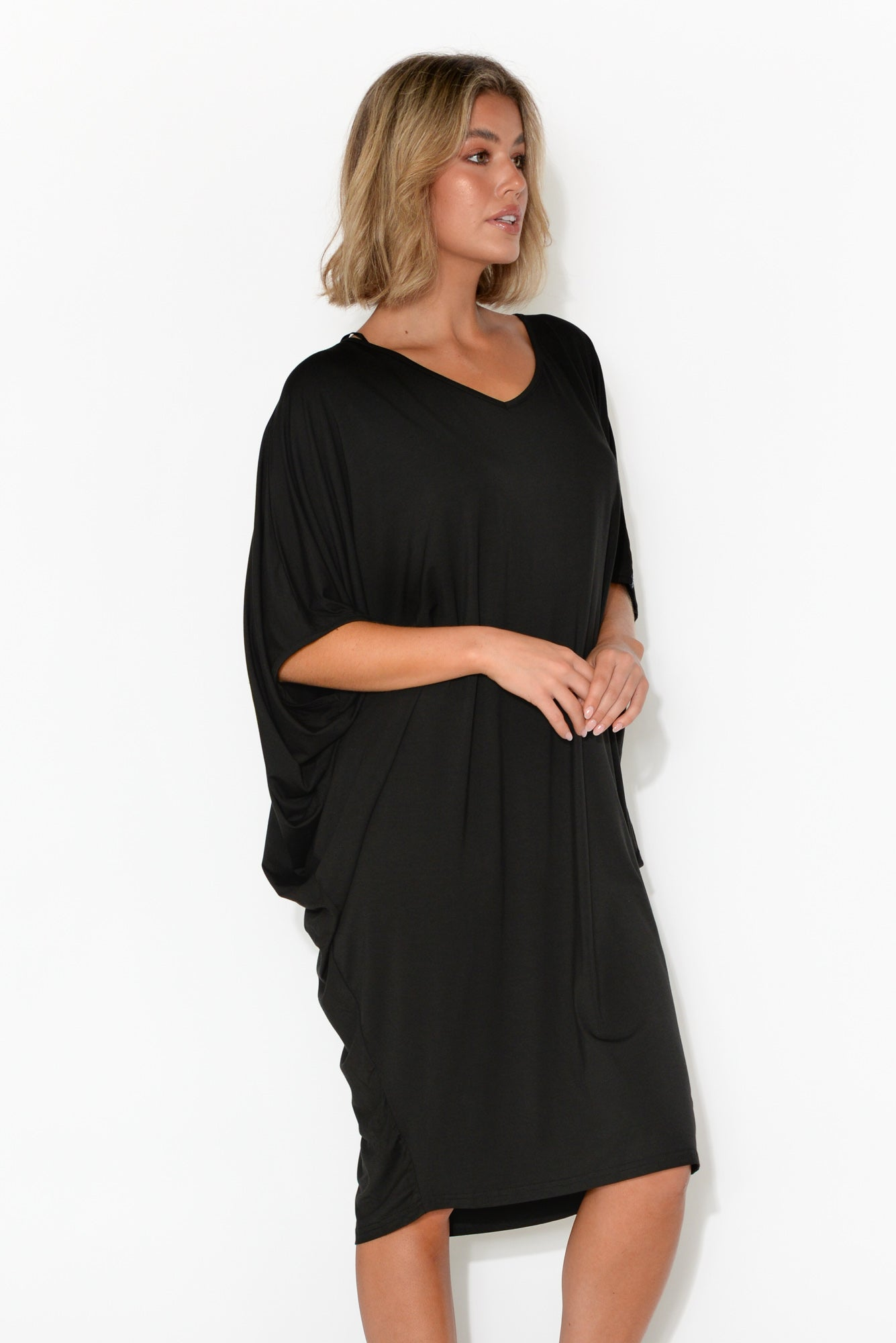 Freya Black Bamboo Batwing Dress