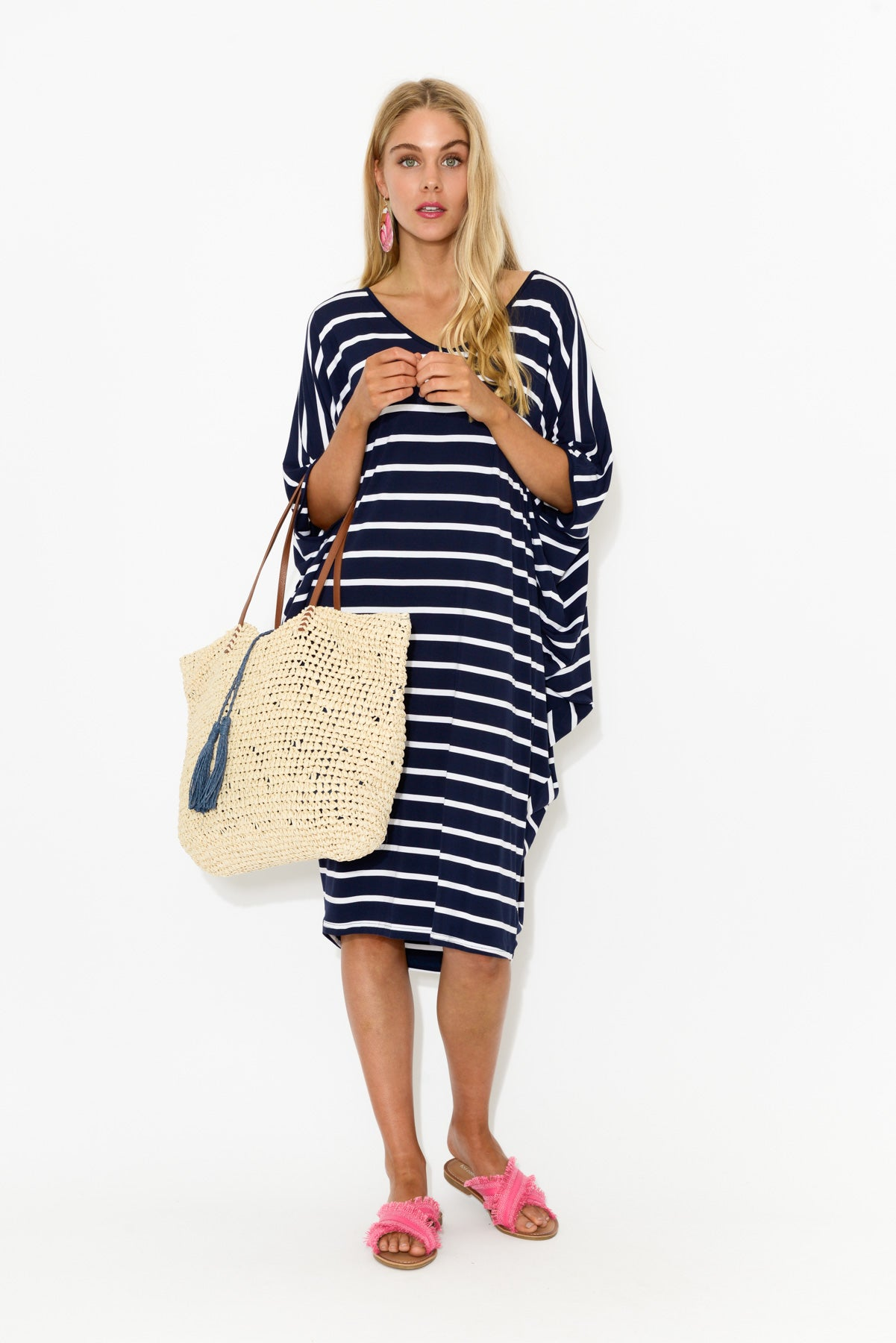 Freya Navy Stripe Batwing Dress - Blue Bungalow
