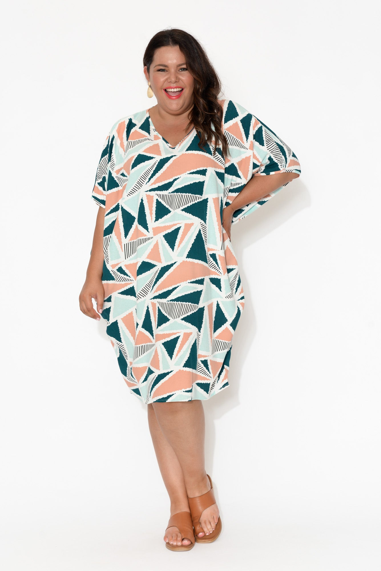 Freya Peach Triangle Batwing Dress
