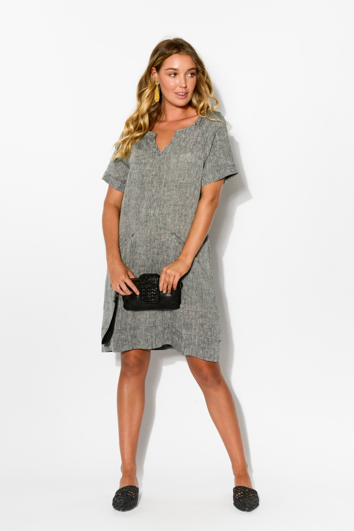 Valerie Grey Linen Dress - Blue Bungalow