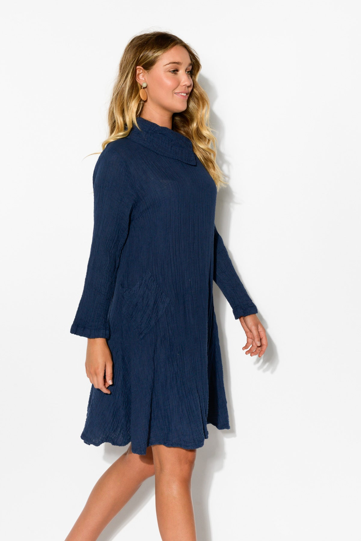 Navy Cowl Neck Crinkle Cotton Dress - Blue Bungalow