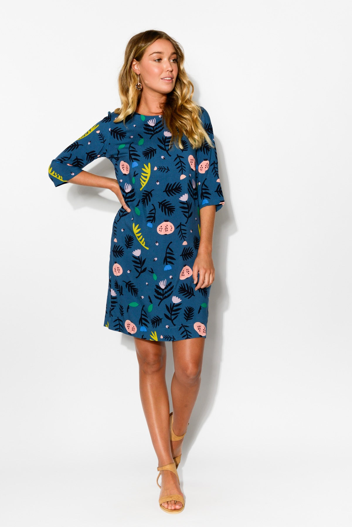 Autumn Fields Blue Shift Dress - Blue Bungalow