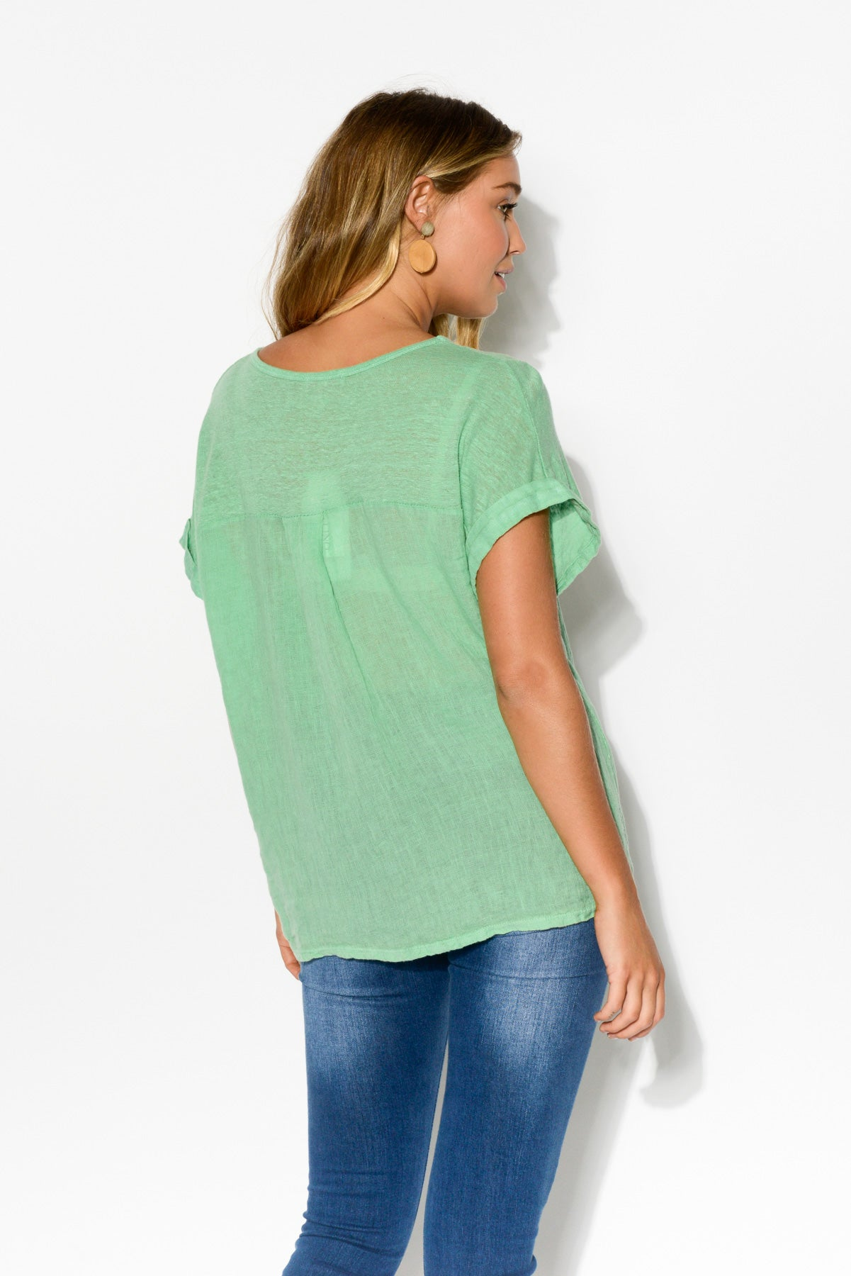 Anna Mint Linen Tee - Blue Bungalow