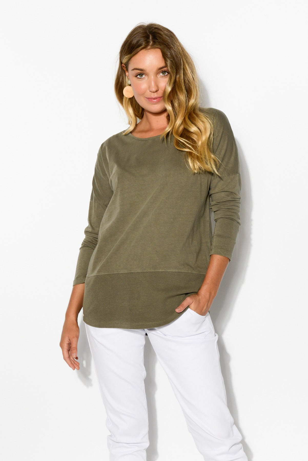 8185239bdf5f Khaki Rib Long Sleeve Cotton Tee – Blue Bungalow