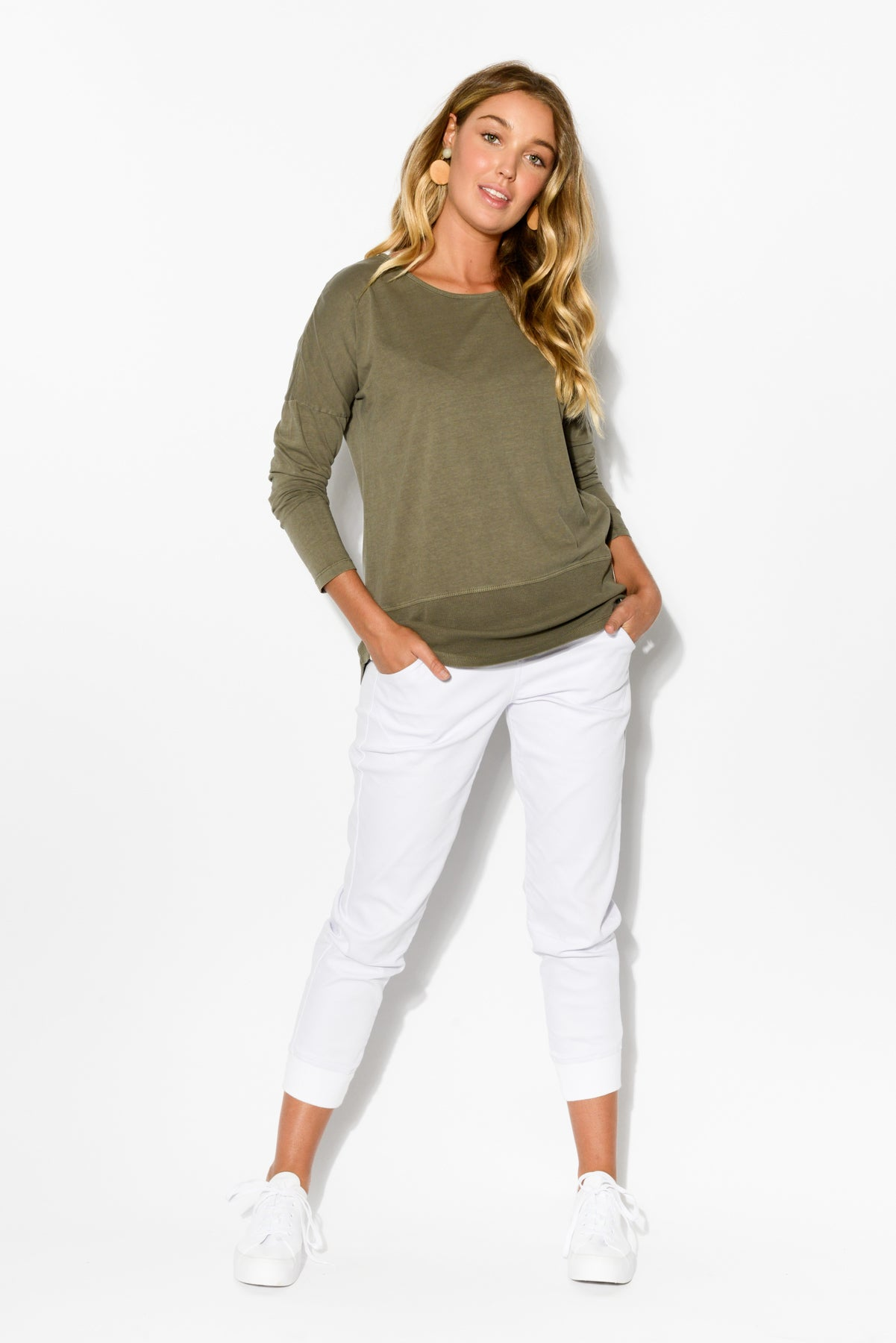 9298383b7202 Khaki Rib Long Sleeve Cotton Tee - Blue Bungalow ...