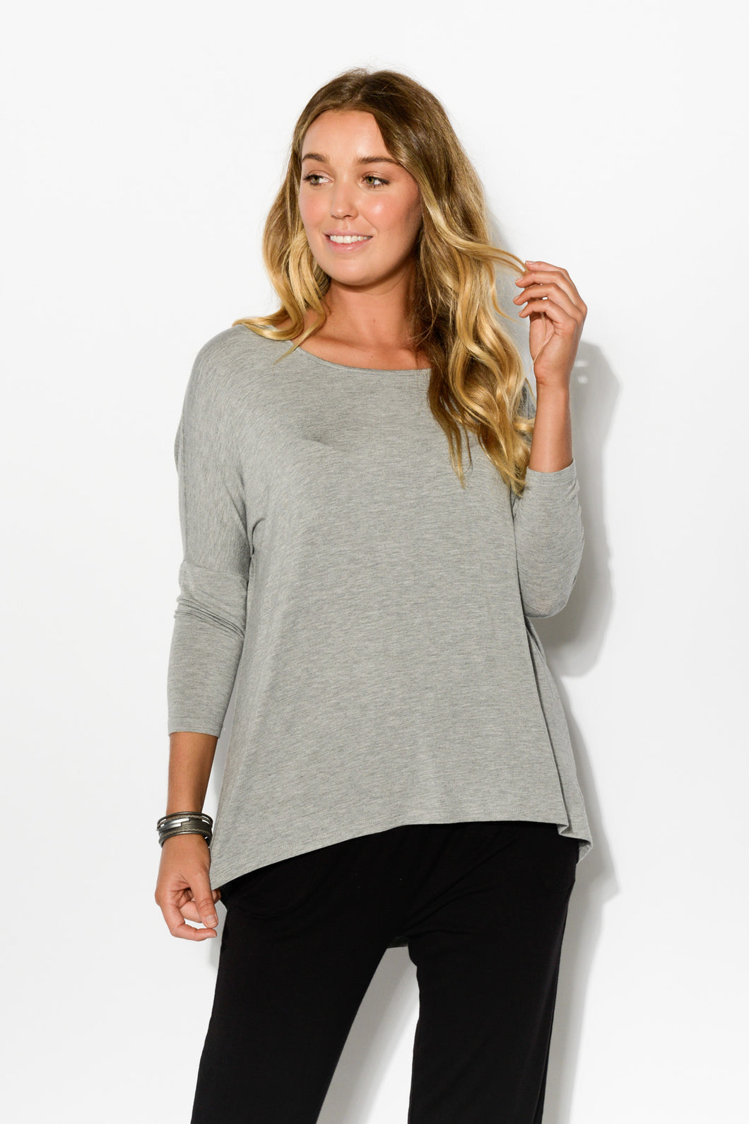 Grey Marle Milan 3/4 Sleeve Top - Blue Bungalow