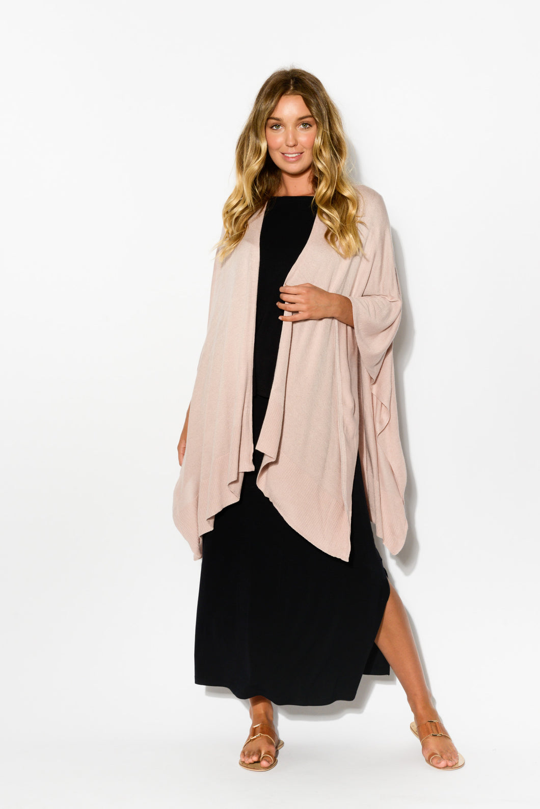 Blush Bamboo Cashmere Knit Wrap - Blue Bungalow