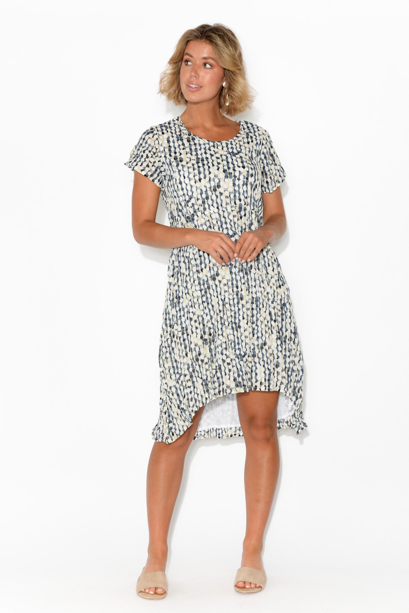 Gabriella Abstract Dot Crinkle Cotton Dress