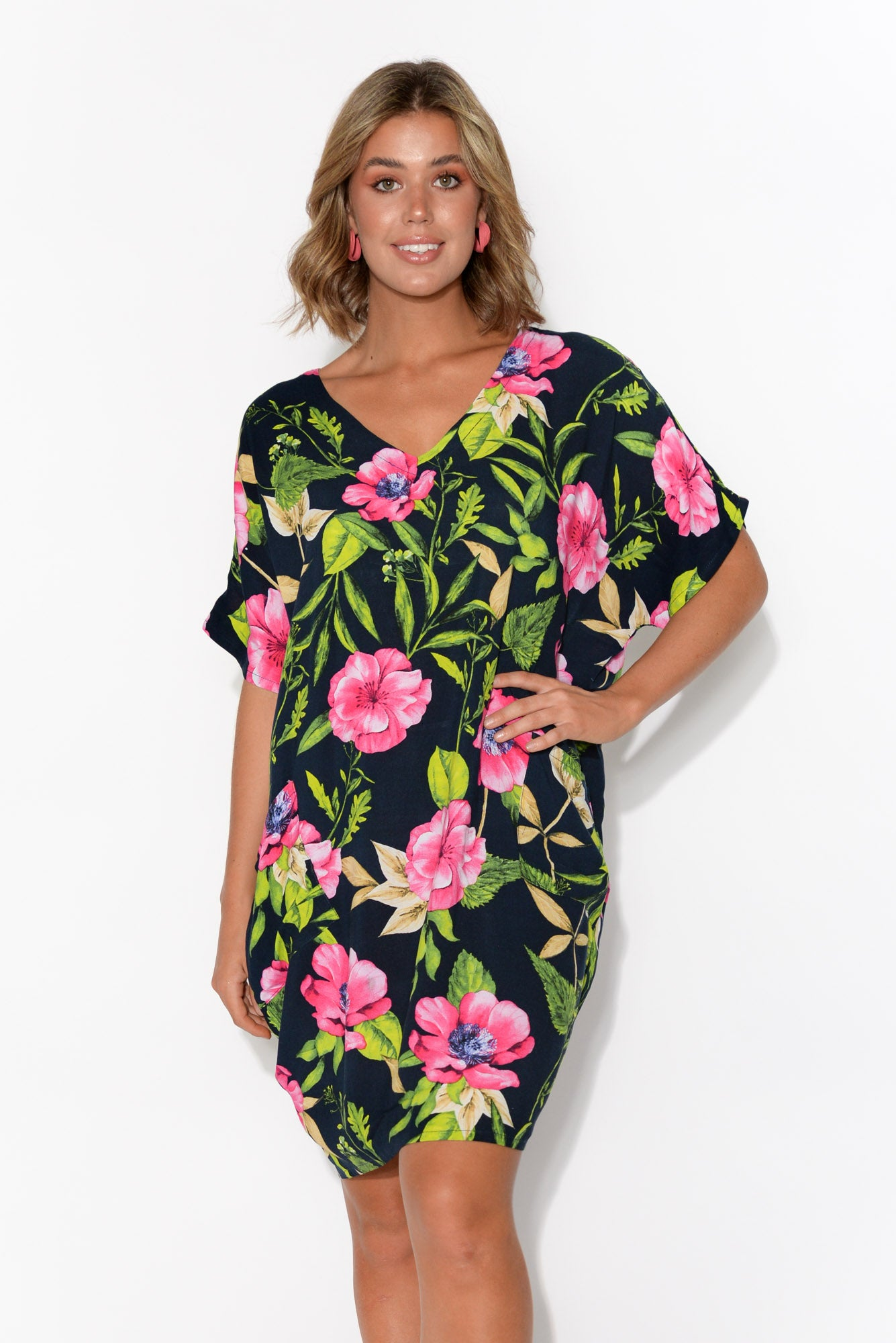 Gaby Pink Hibiscus Drape Tee Dress