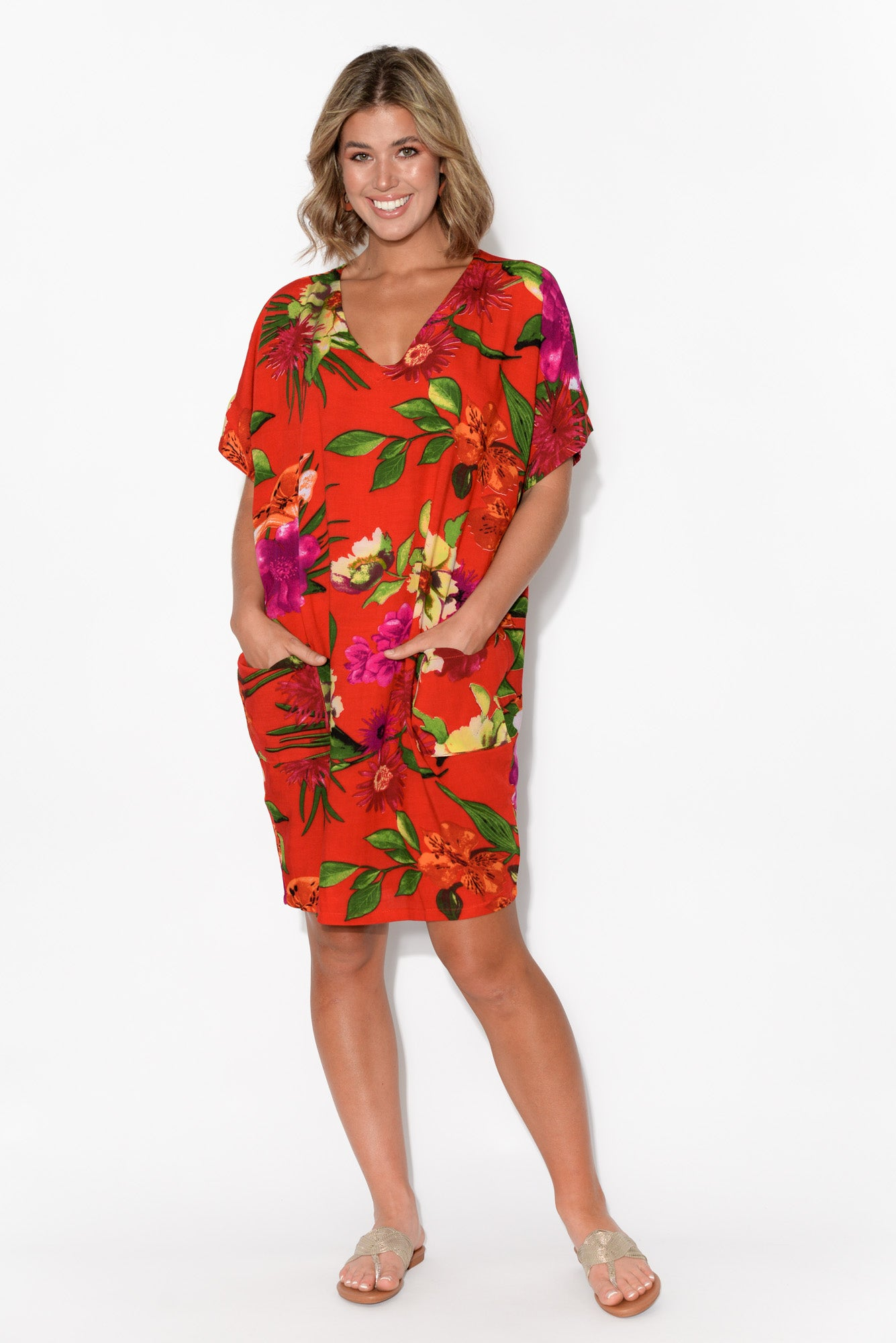 Gaby Red Floral Drape Tee Dress