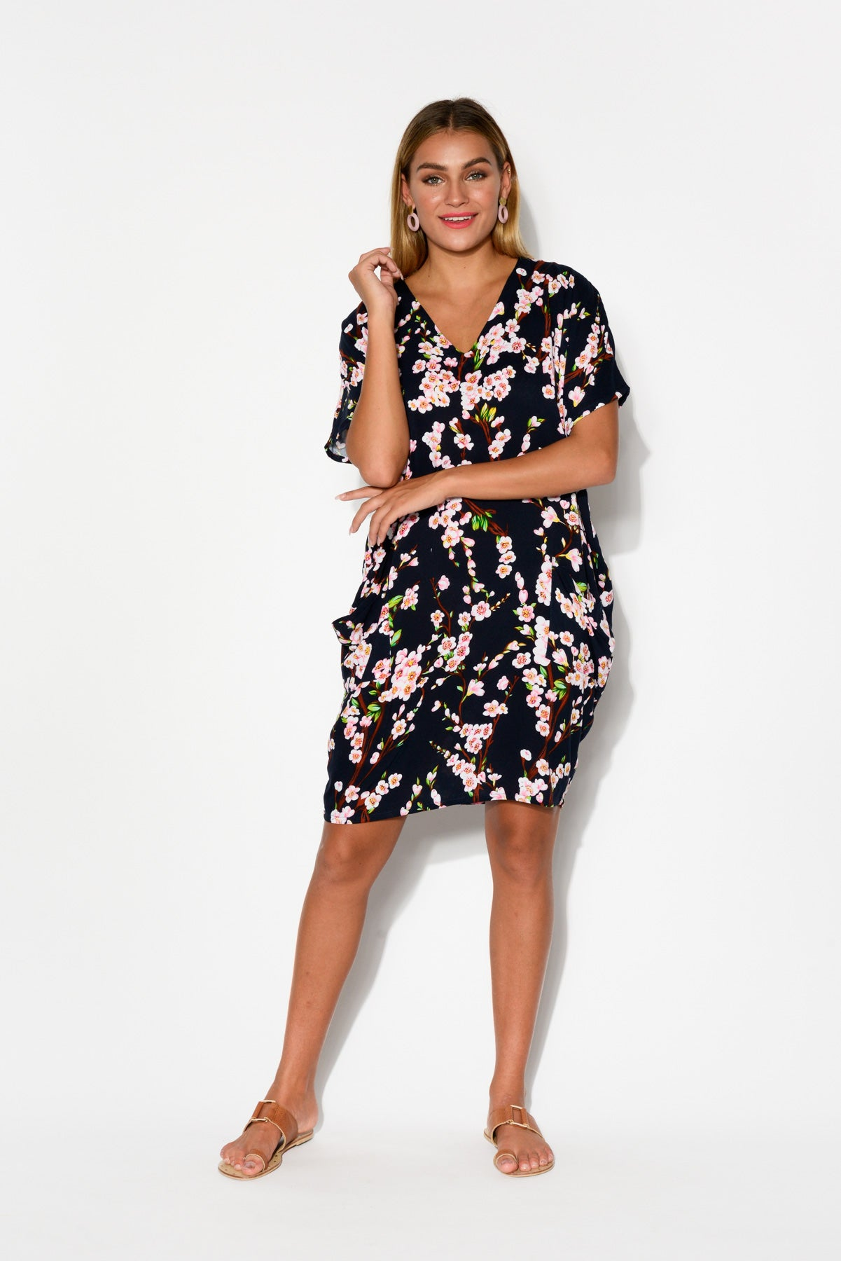 Gaby Navy Floral Drape Tee Dress - Blue Bungalow