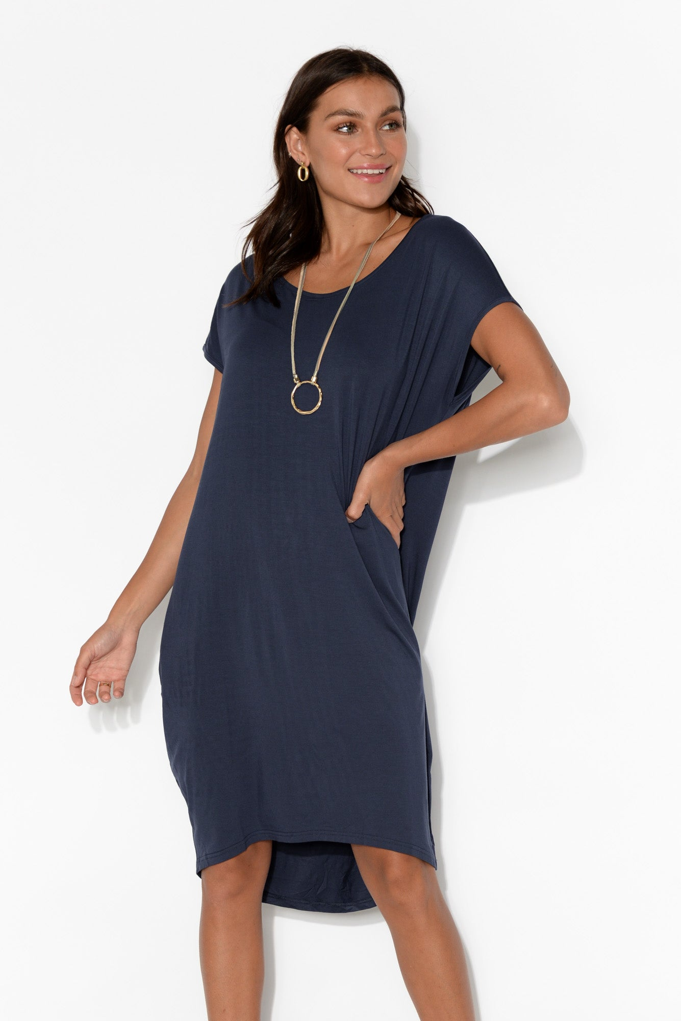Georgie Navy Bamboo Tulip Dress