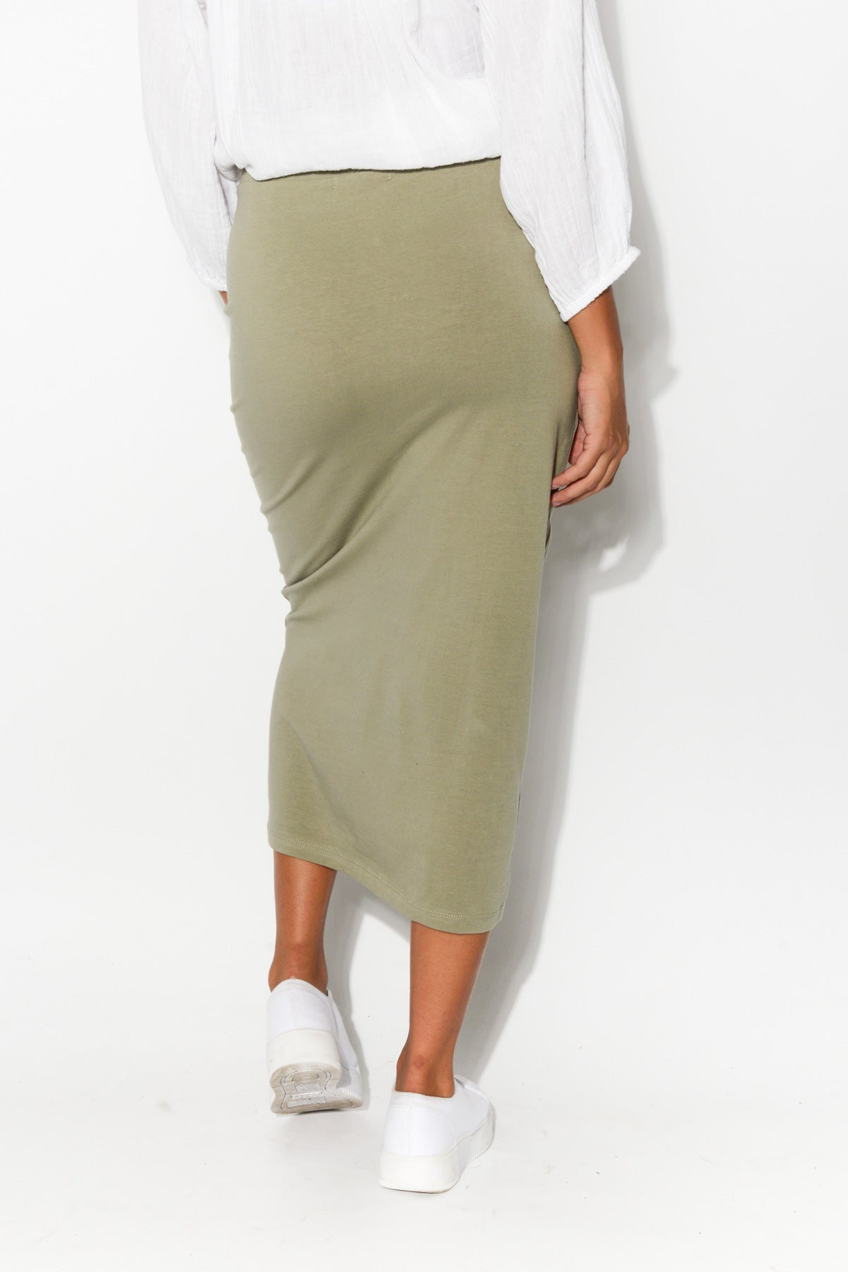 Gigi Khaki Midi Skirt - Blue Bungalow
