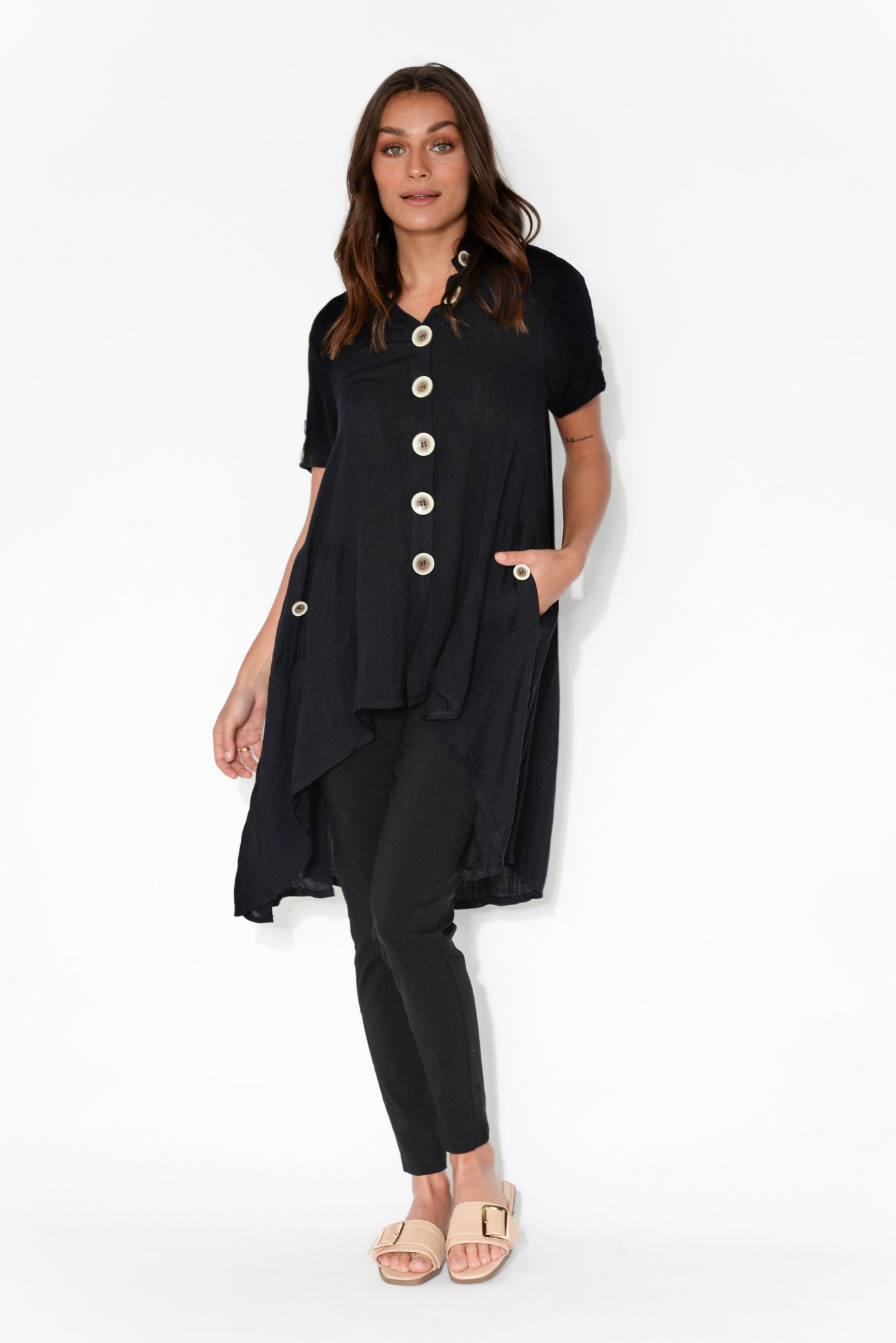 Gillian Black Button Front Tunic Top