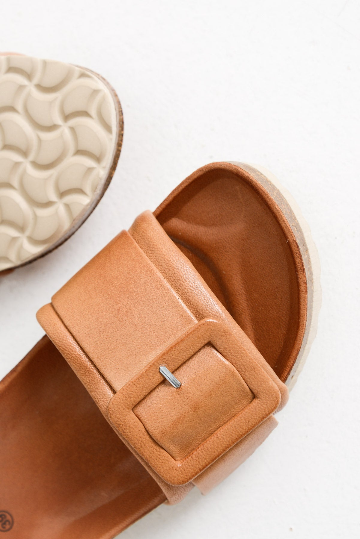 Ginger Brandy Leather Slide