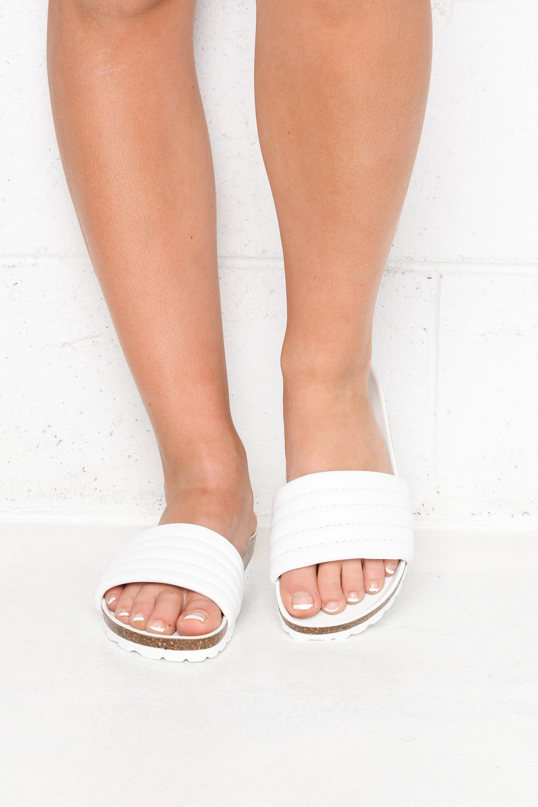 Ginni White Leather Slide
