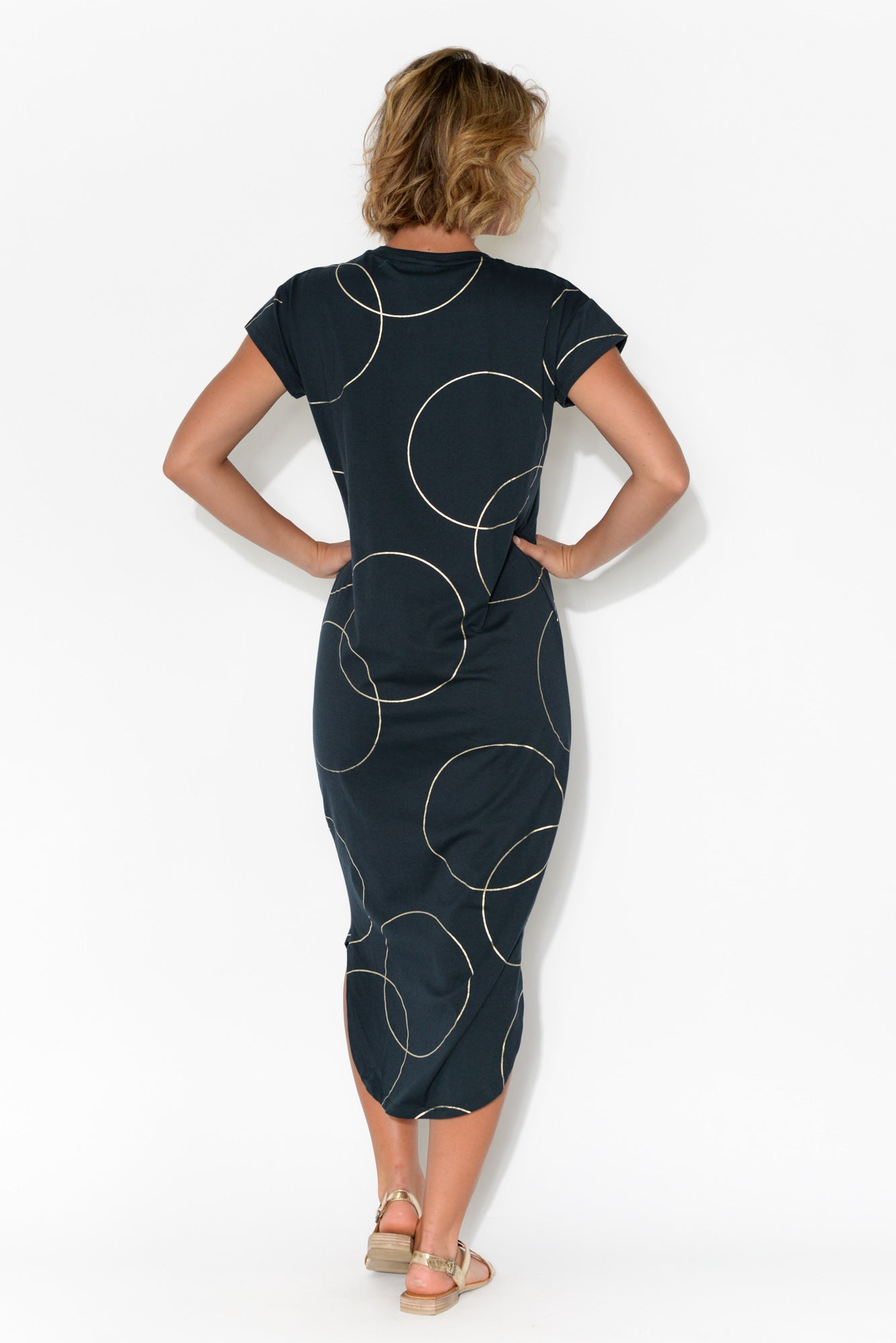 Gisele Navy Circle Print Dress