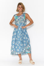 Glasshouse Blue Lotus Cotton Sleeveless Dress
