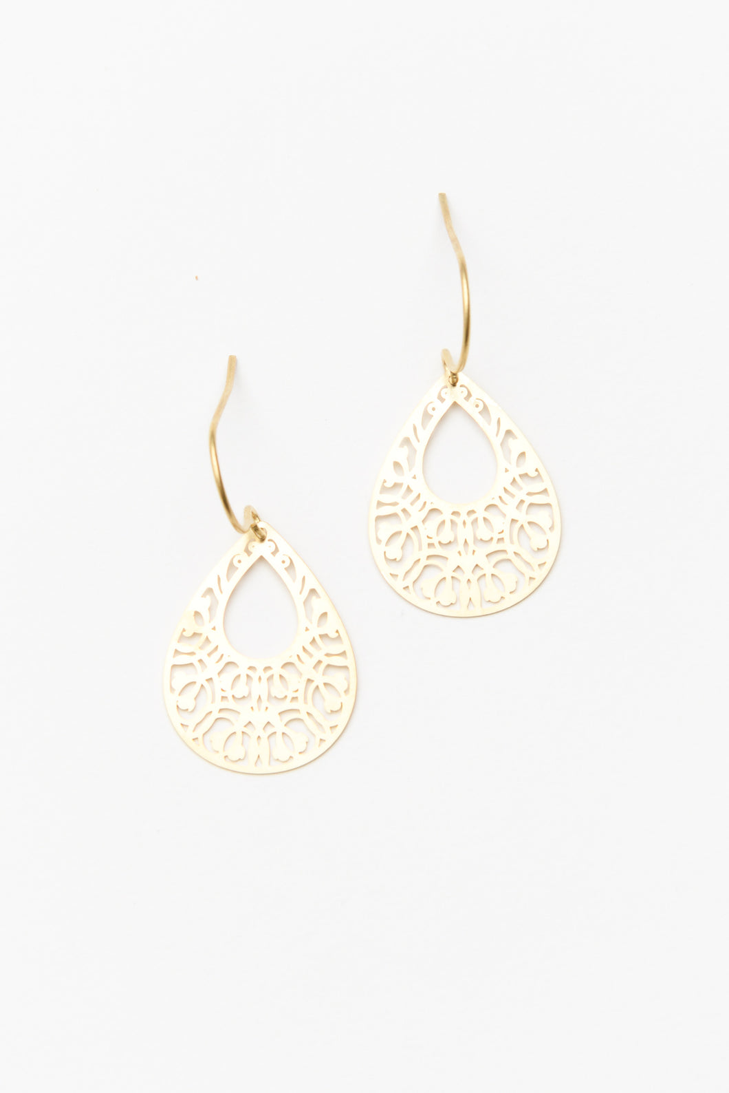 Gold Mini Filigree Teardrop Earring