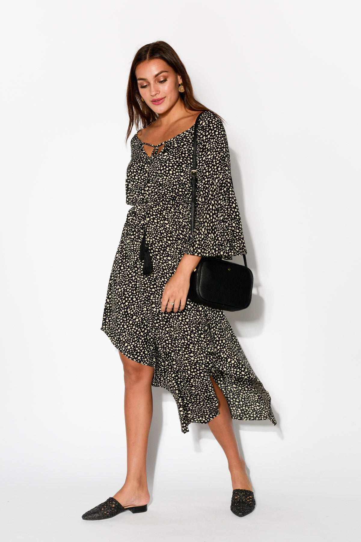 Grace Black Cheetah Dress - Blue Bungalow