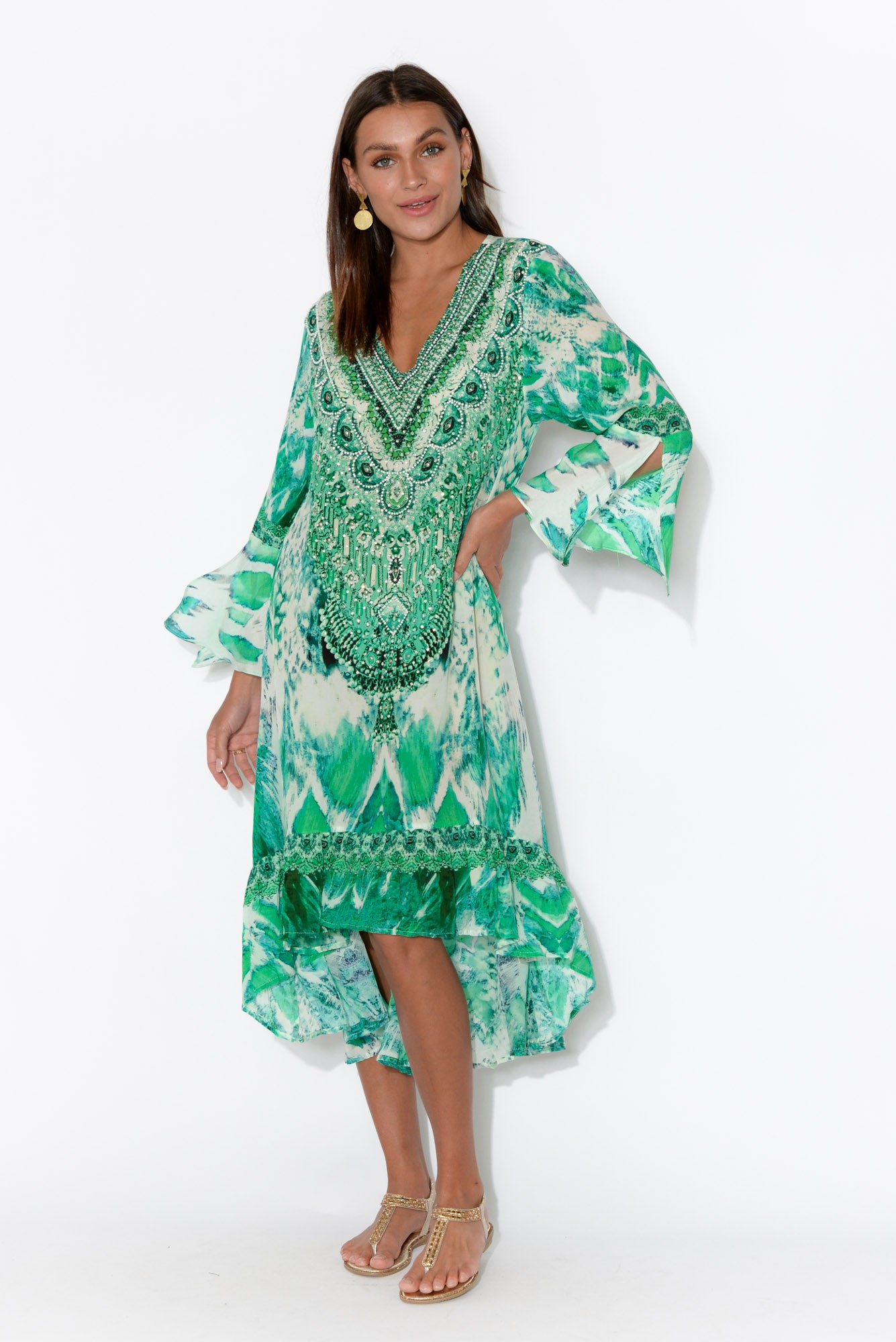Green Paluma Silk Frill Dress