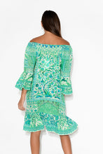 Green Venice Silk Off Shoulder Dress