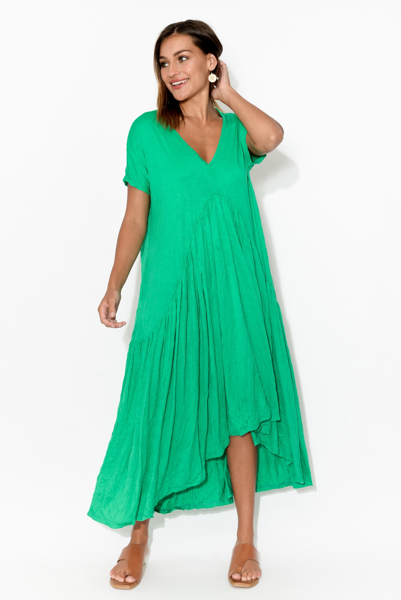 Green Crinkle Cotton Gather Dress