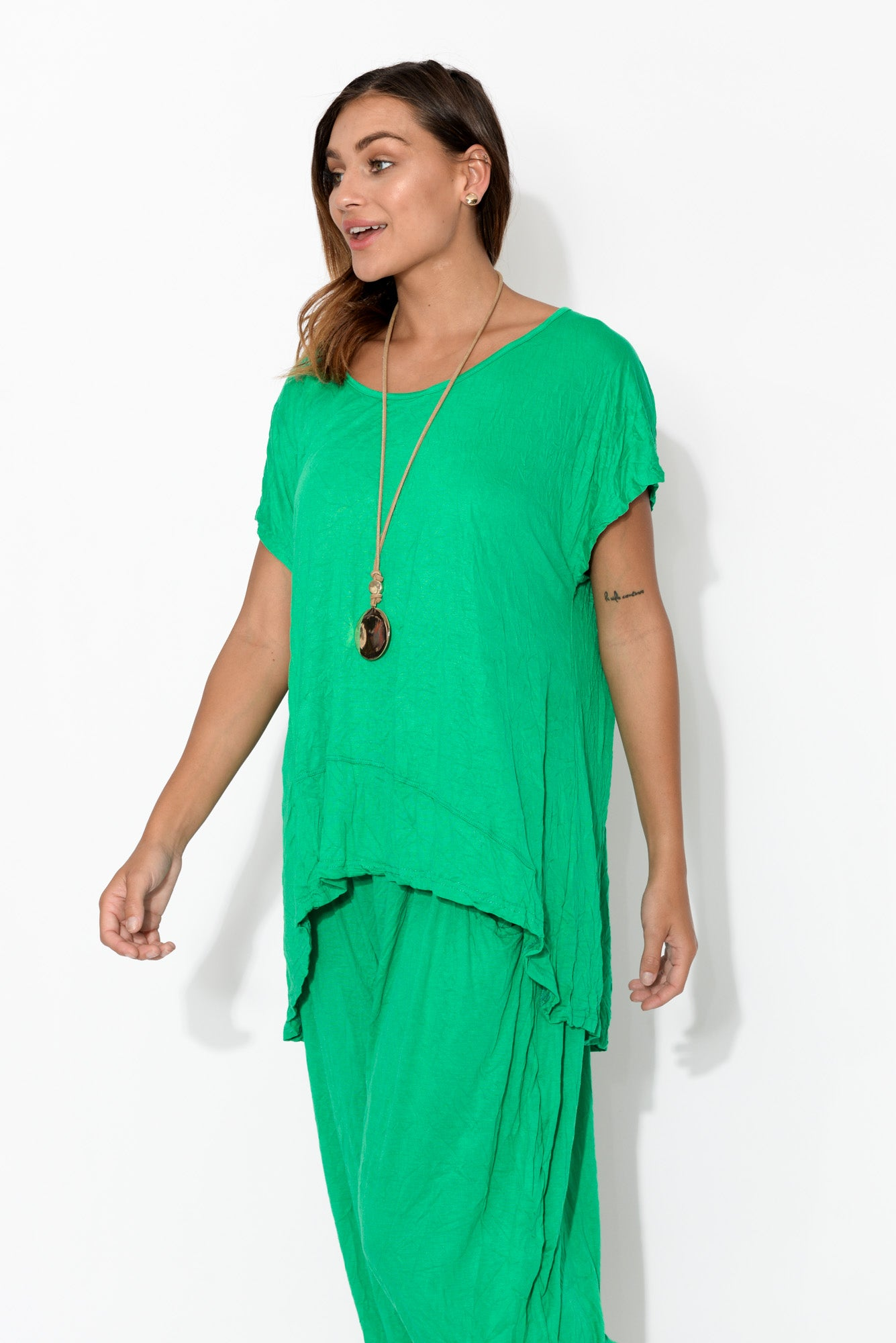 Green Crinkle Cotton Panel Tee