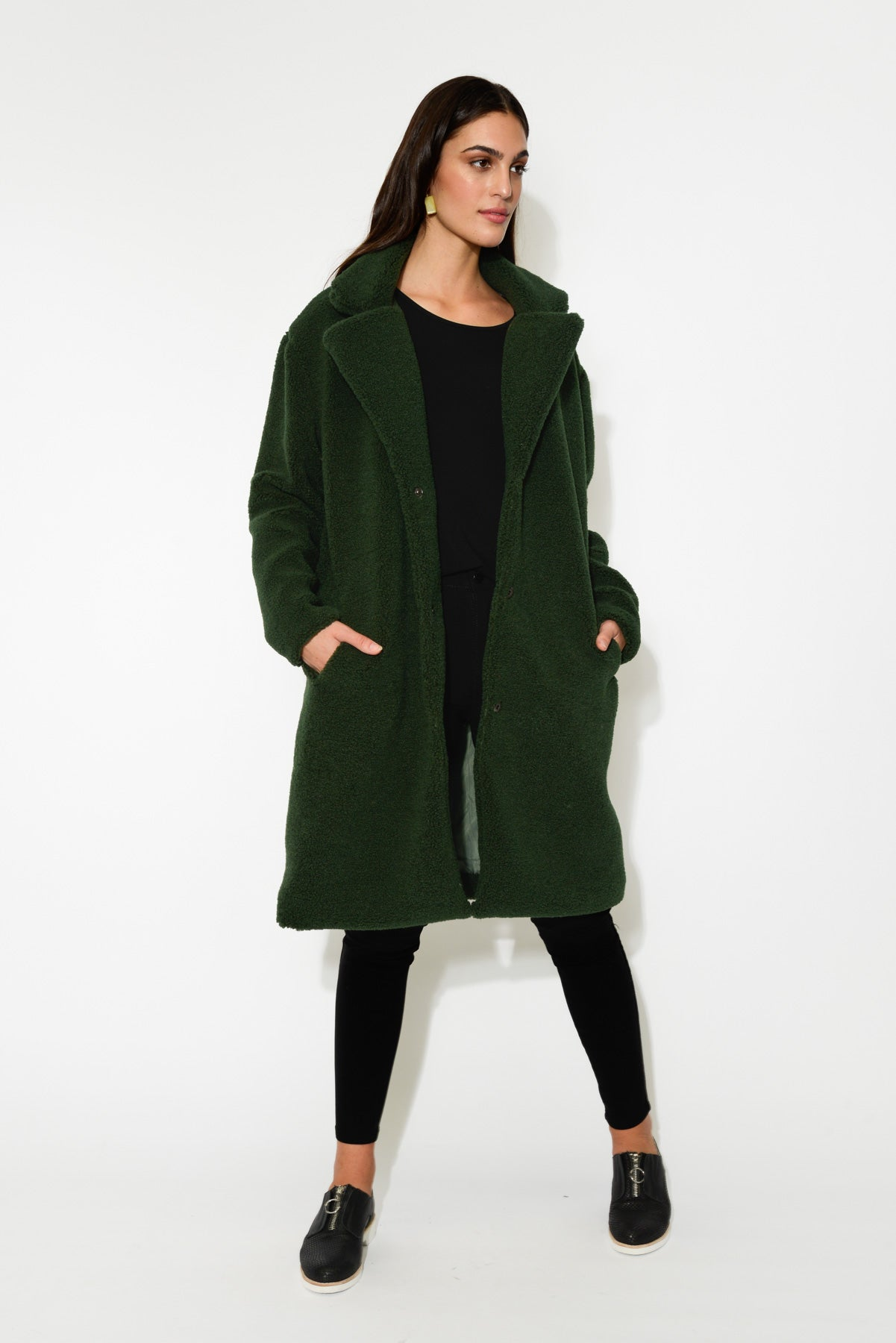 Green Faux Sheep Coat - Blue Bungalow