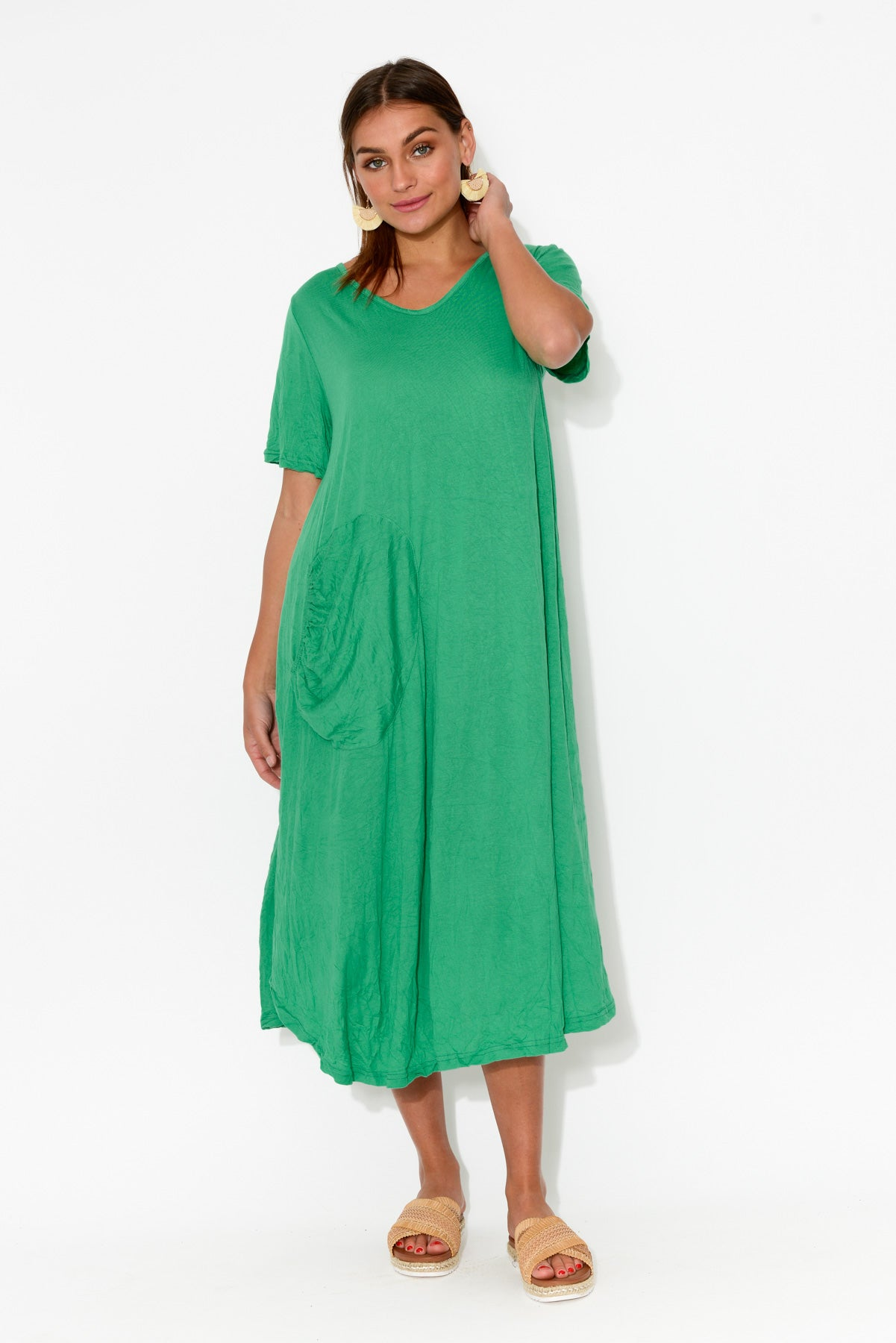 Green Gathered Pocket Cotton Dress - Blue Bungalow