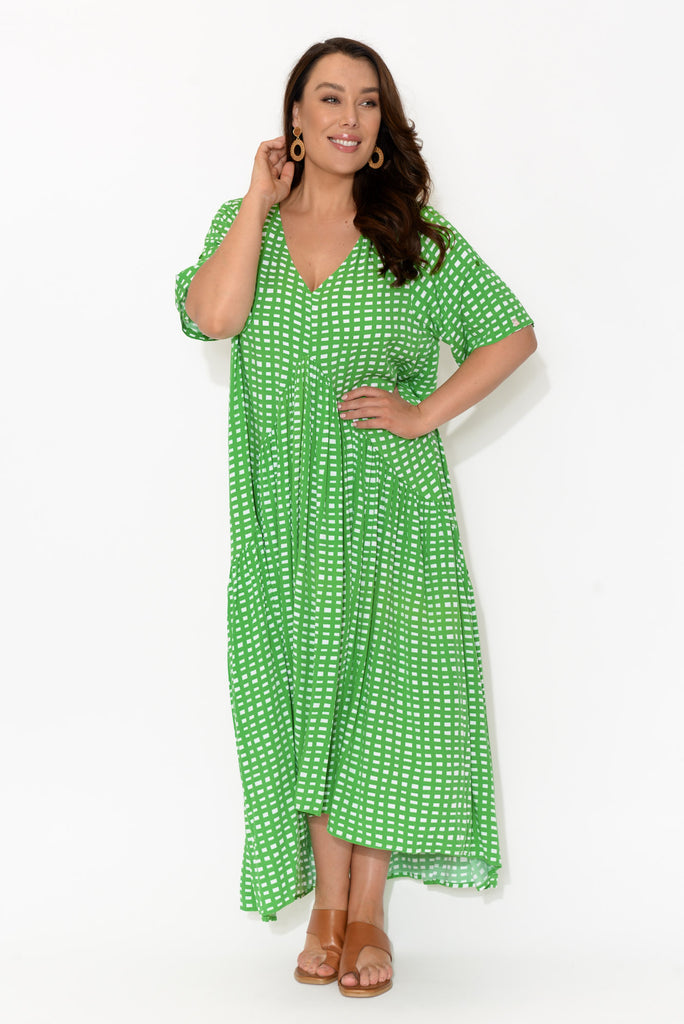 Green Gingham Peak Maxi Dress