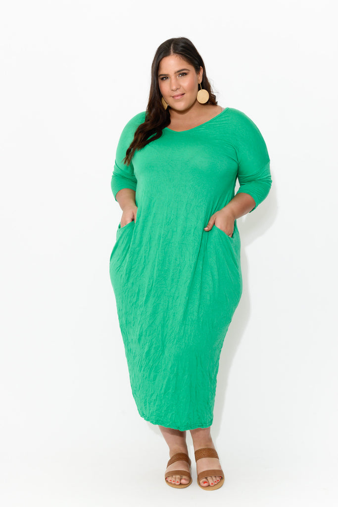 Green Sleeved Pocket Cotton Dress
