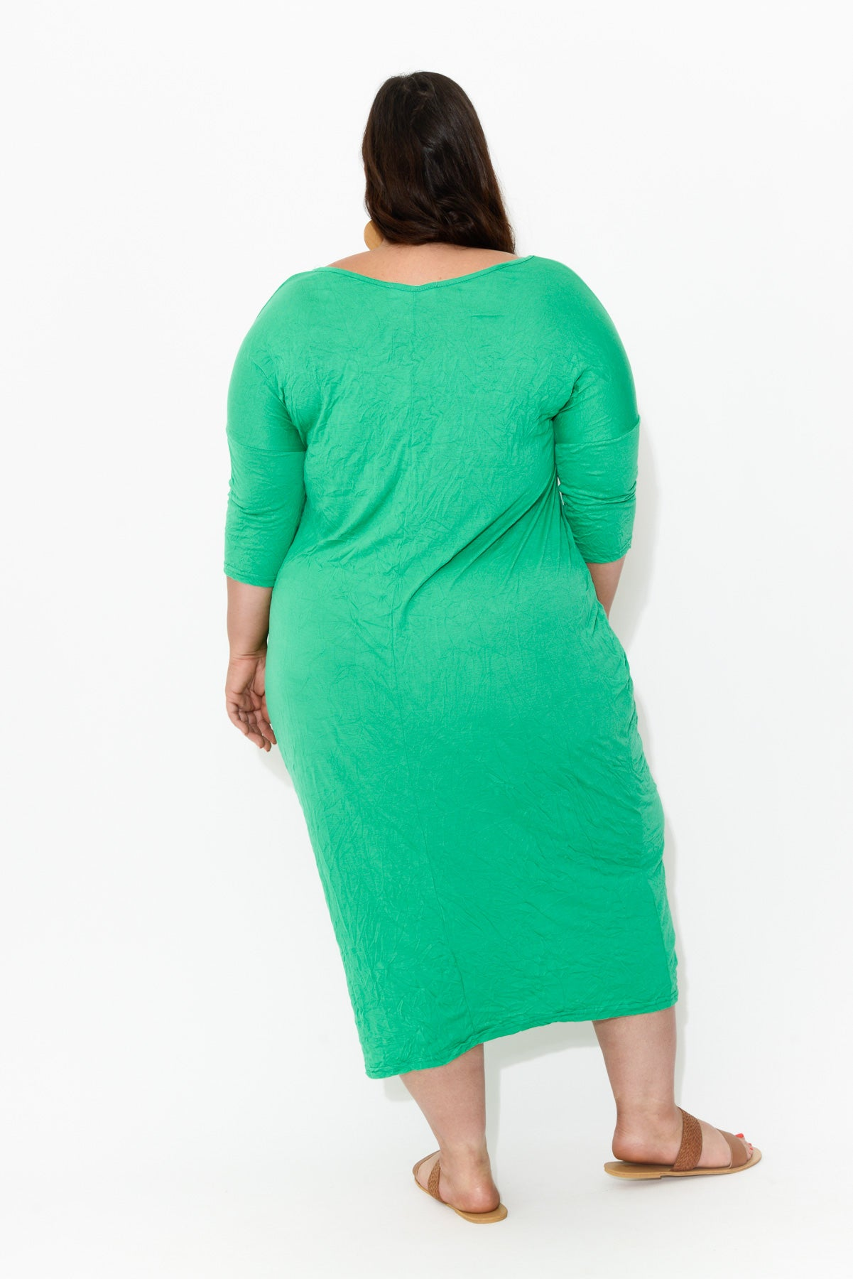 Green Sleeved Pocket Cotton Dress - Blue Bungalow