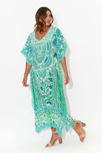 Green Venice Silk Maxi Kaftan - Blue Bungalow