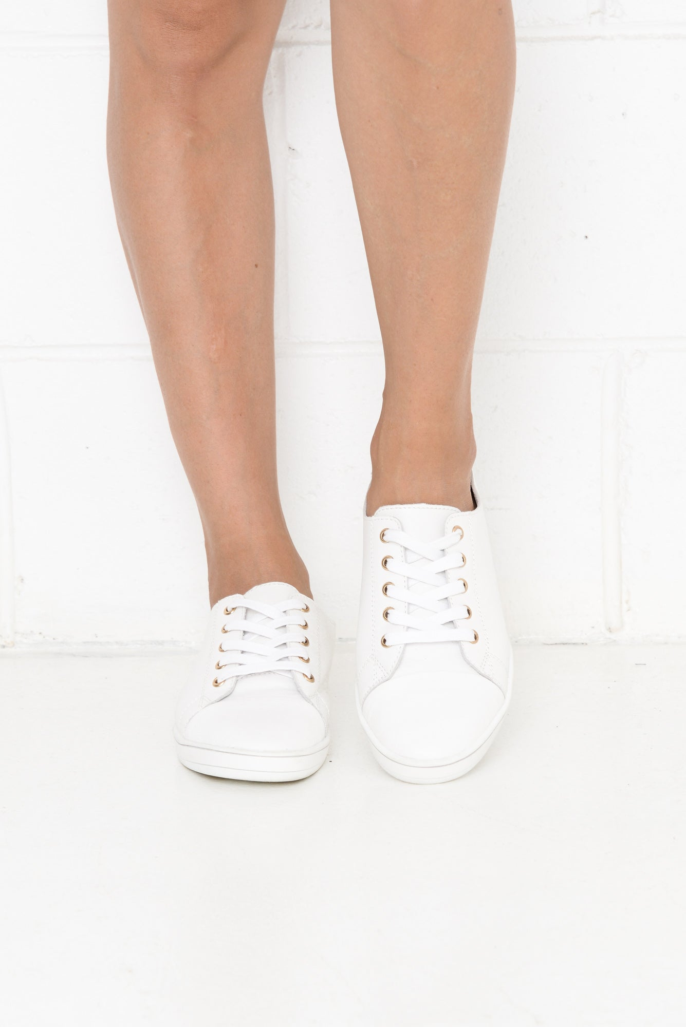 Greenie White Leather Sneaker