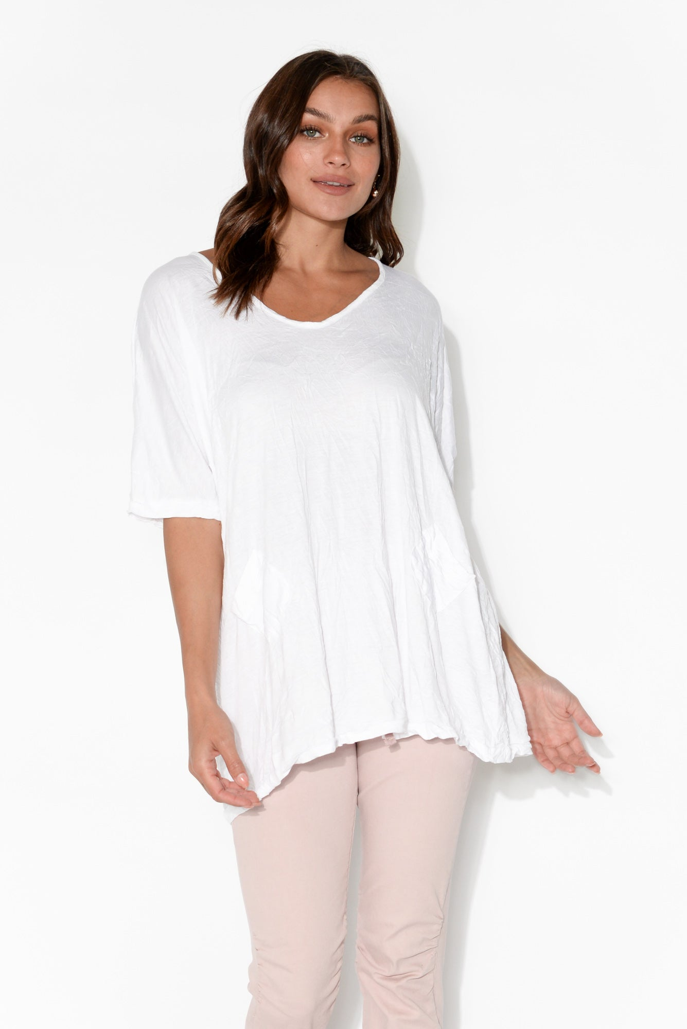 Greer White Pocket Crinkle Cotton Top