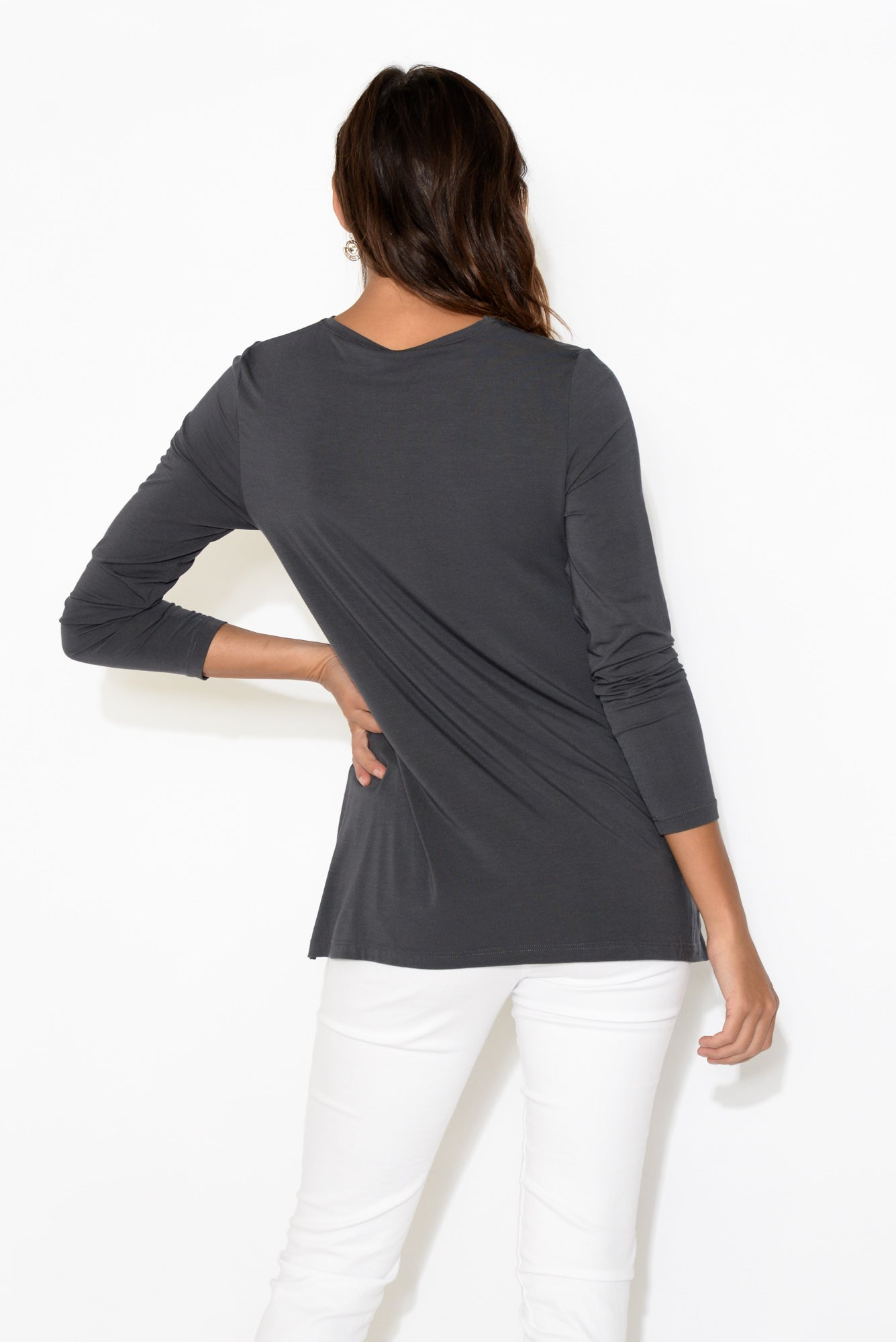 Grey Long Sleeve Modal Swing Top