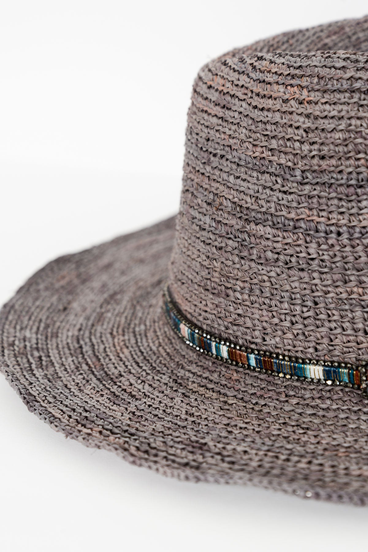 Grey Diamonte Trim Raffia Hat