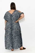 Grey Leopard Cold Shoulder Maxi Dress - Blue Bungalow