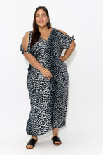 plus-size,curve-dresses,curve-kaftans,Grey Leopard Cold Shoulder Maxi Dress - Blue Bungalow