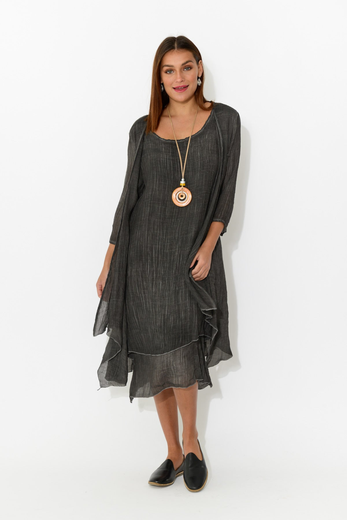 Grey Linen Cotton Layers Dress - Blue Bungalow