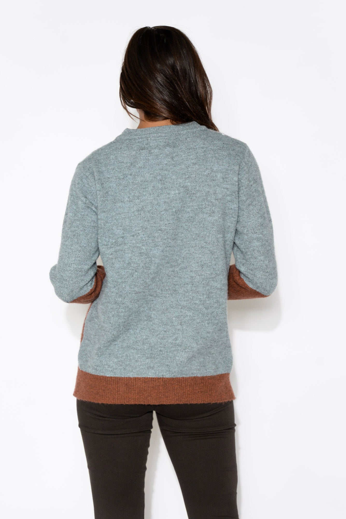 Grey and Burgundy Abstract Jumper