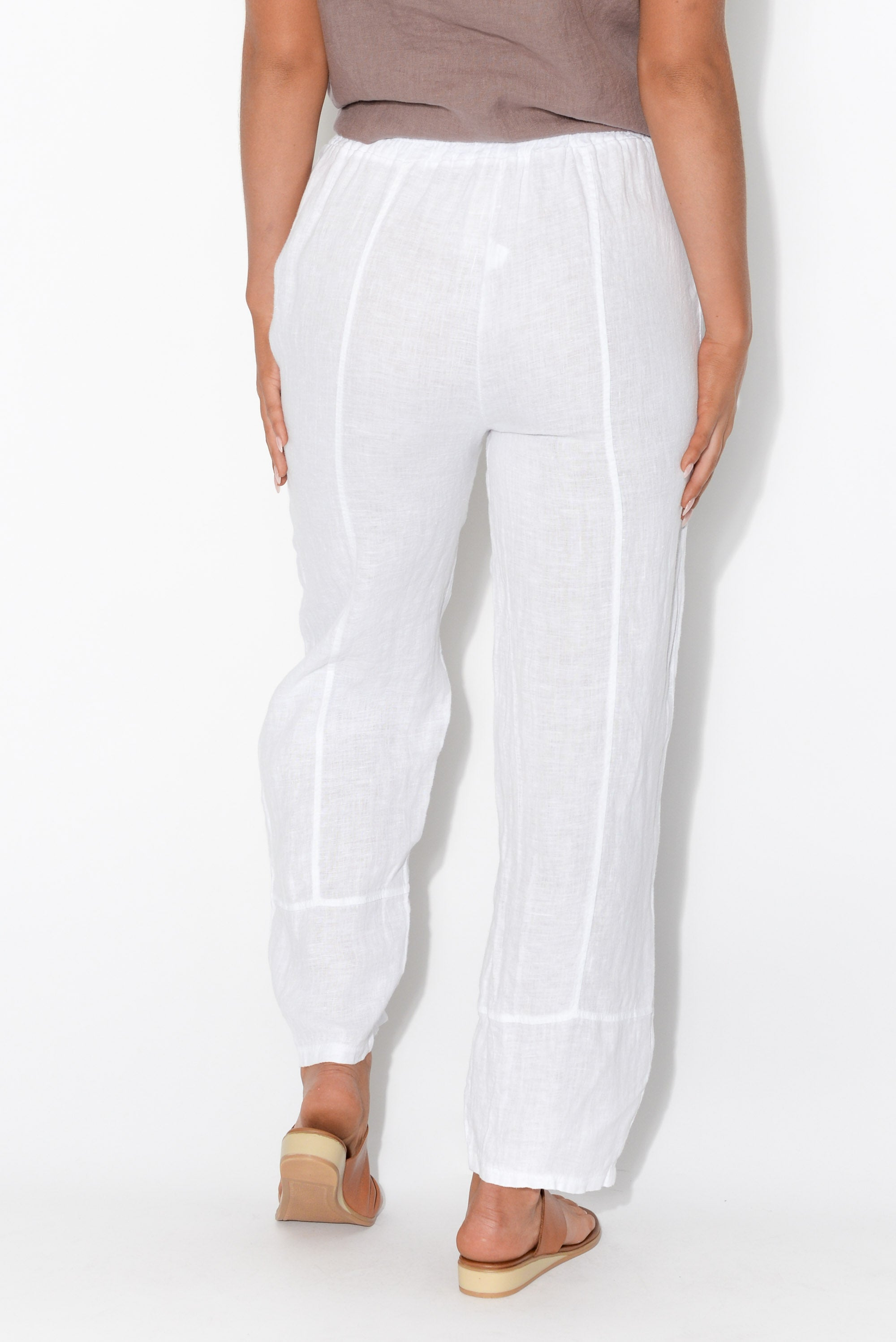 Haisley White Linen Button Pant