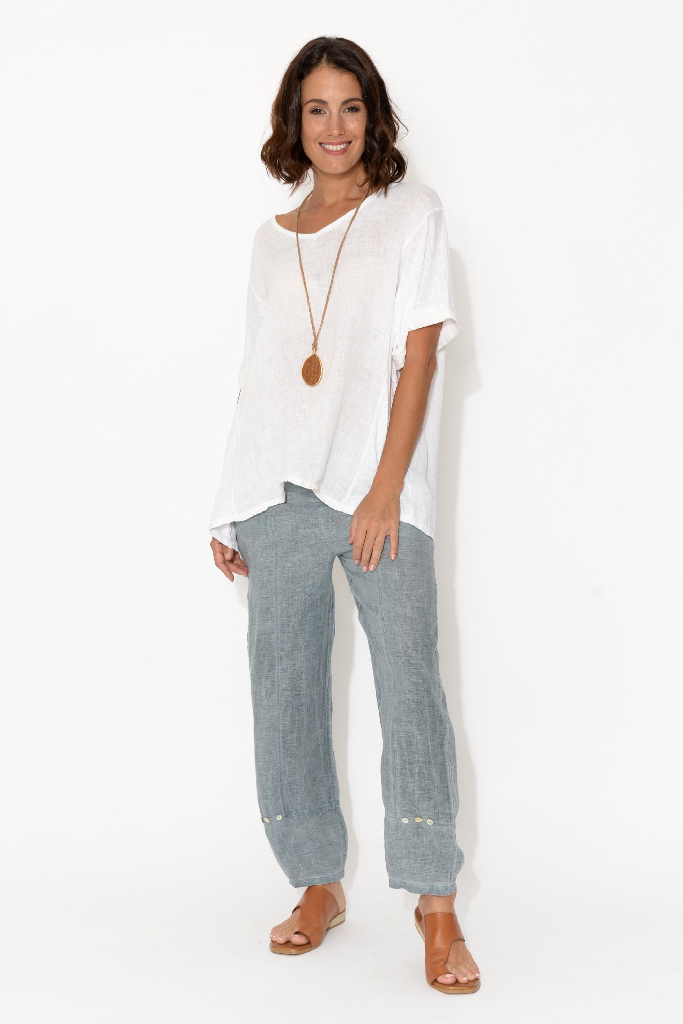 Haisley Blue Linen Button Pants