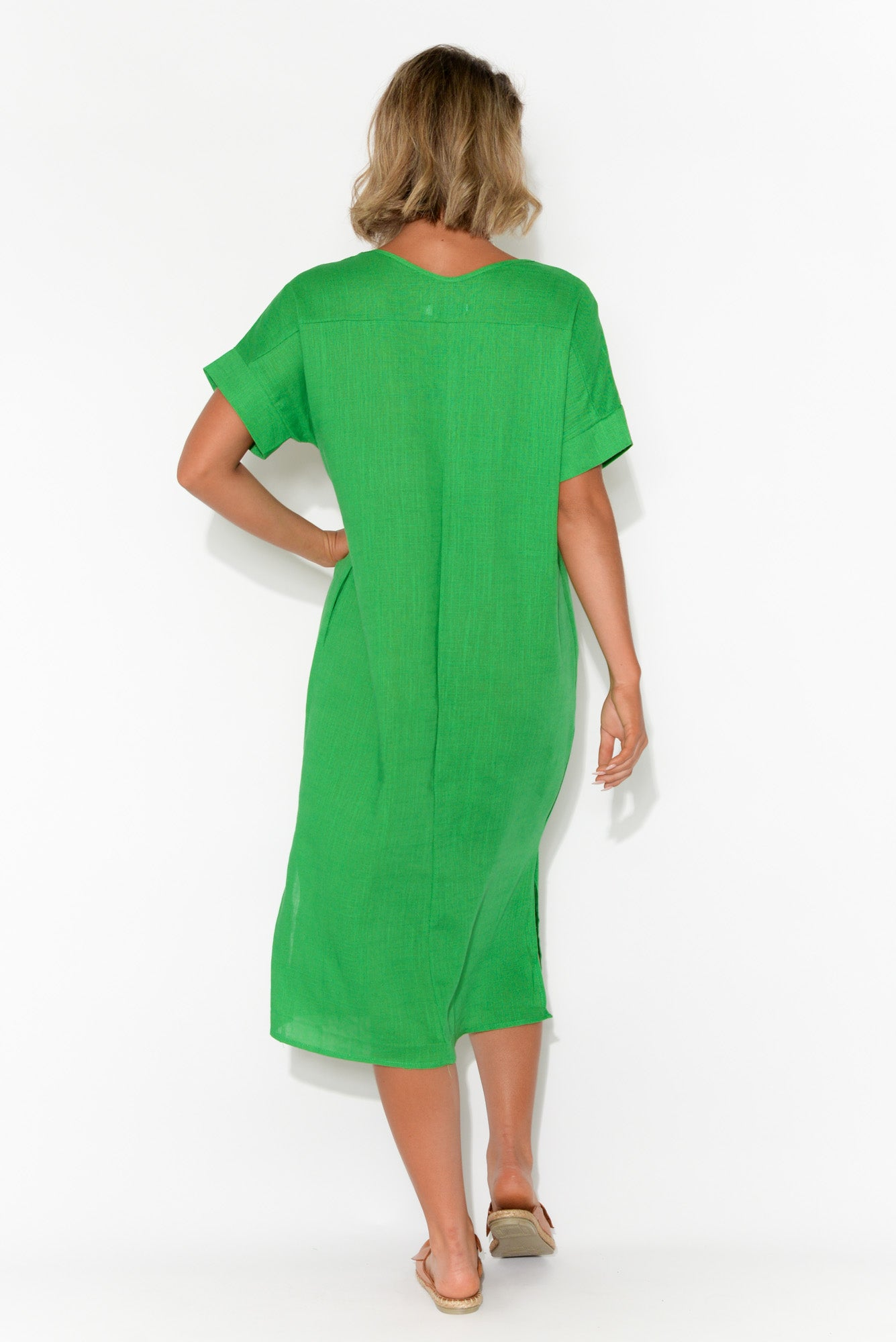 Hannah Green Linen Cotton Dress
