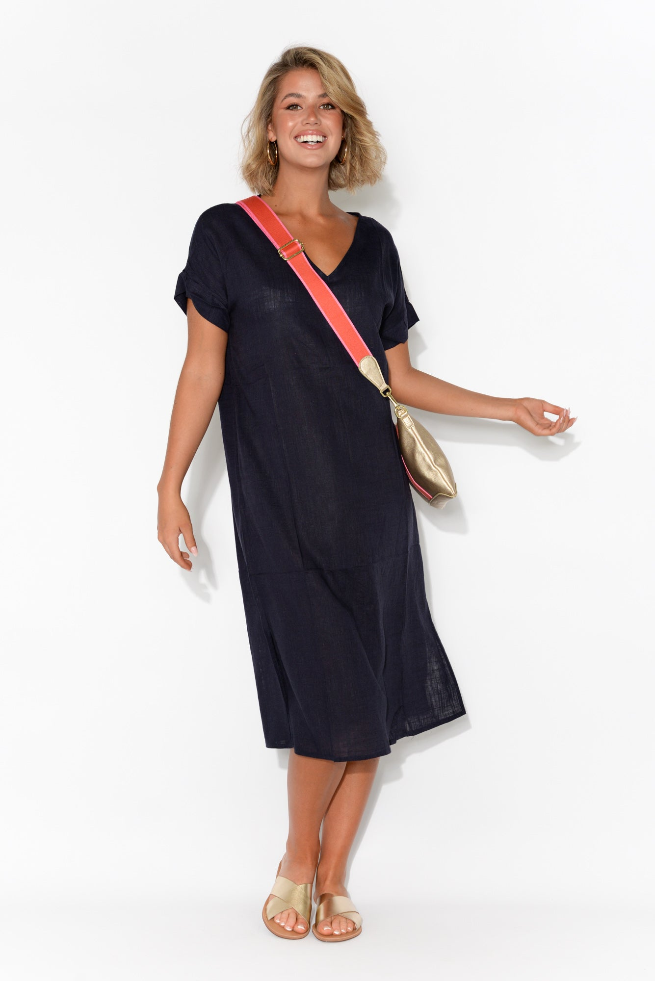 Hannah Navy Linen Cotton Dress