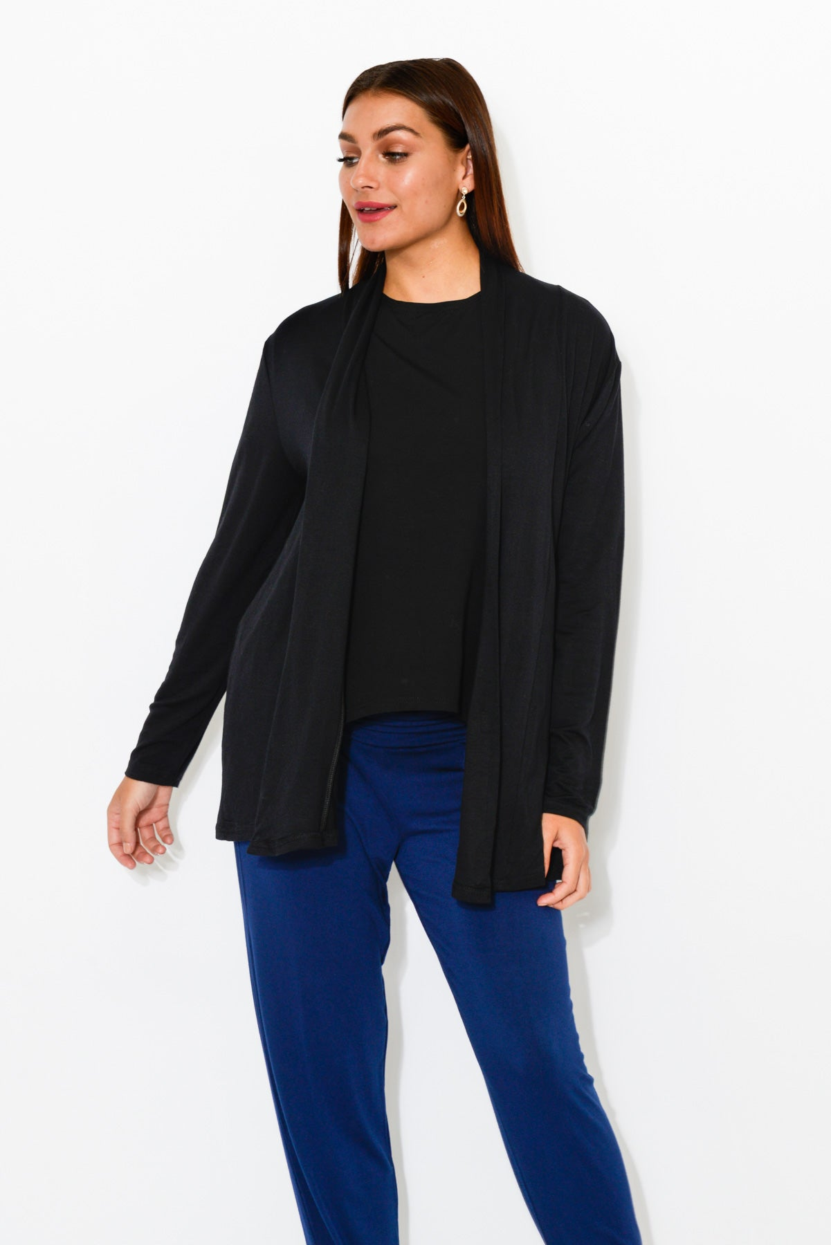 Harper Black Cotton Cardigan - Blue Bungalow