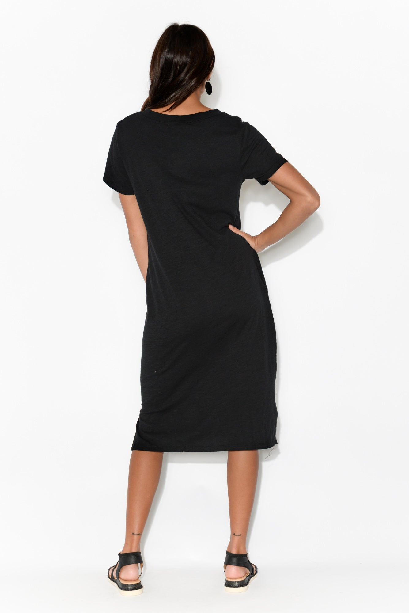 Hedy Black Cotton Midi Dress