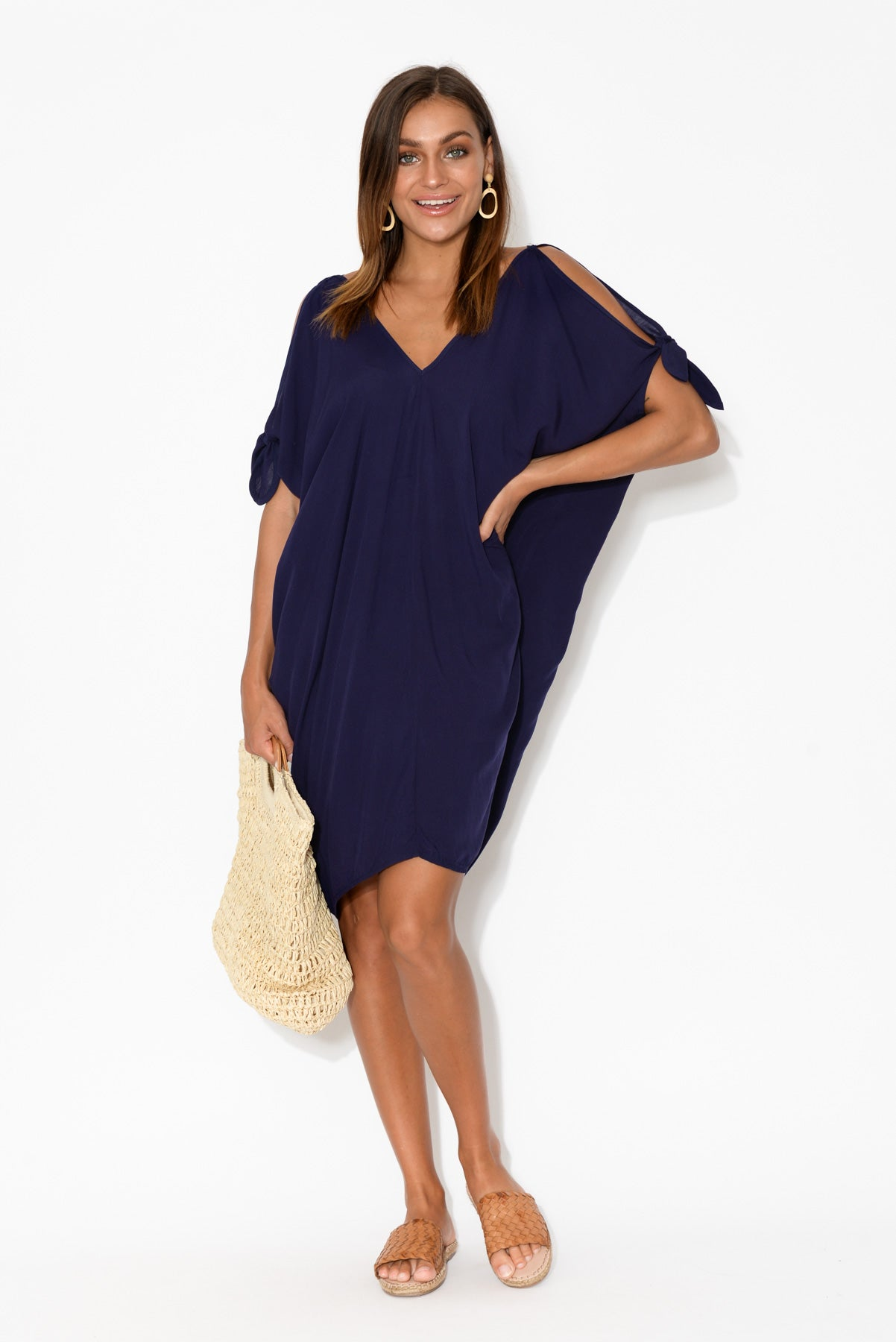Indigo Cold Shoulder Kaftan Dress