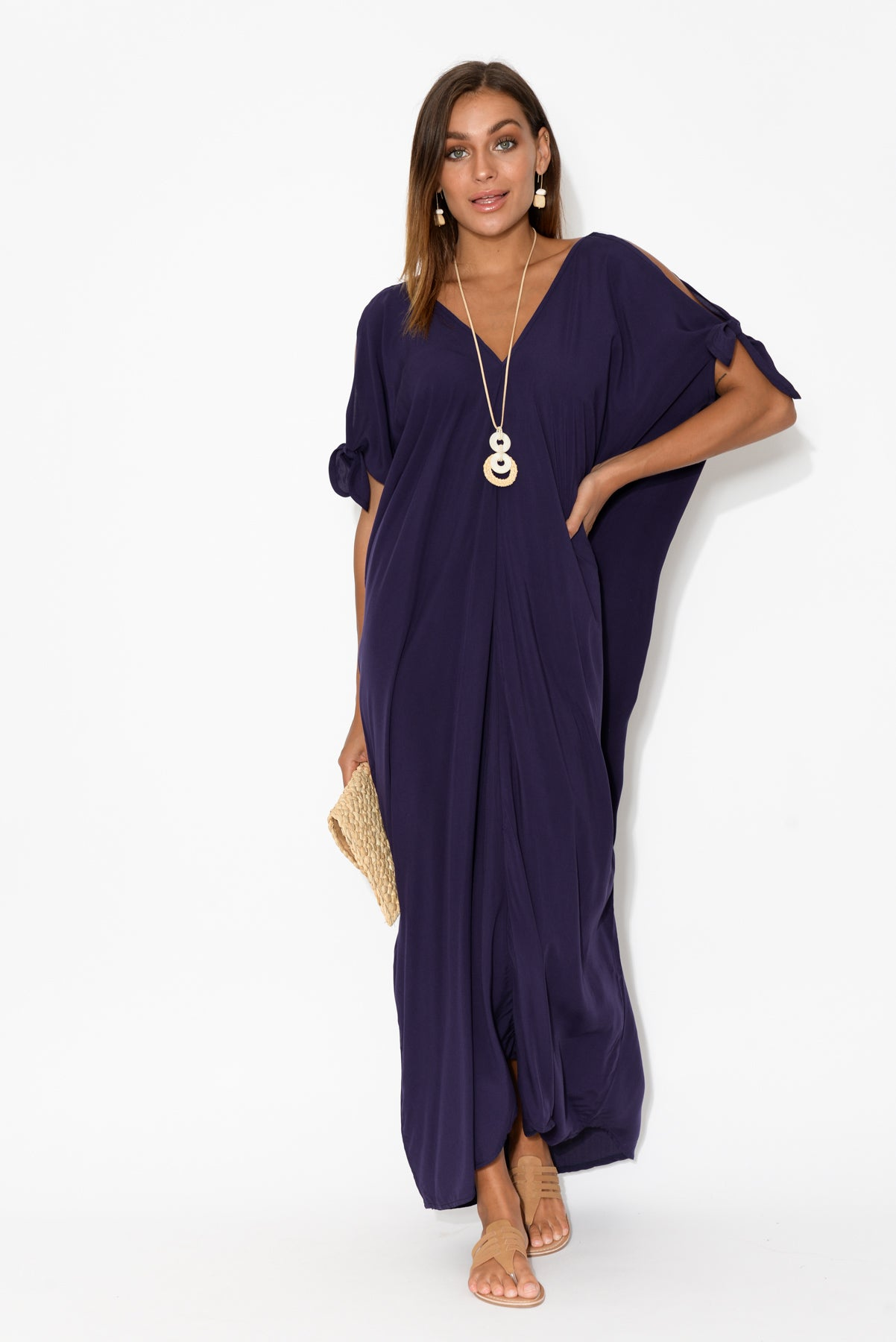 Indigo Cold Shoulder Maxi Dress